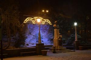 Krynica w zimie - pomnik A.Mickiewicza